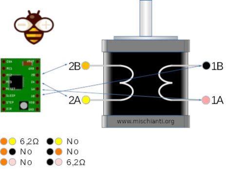 4 wires stepper motor resistance